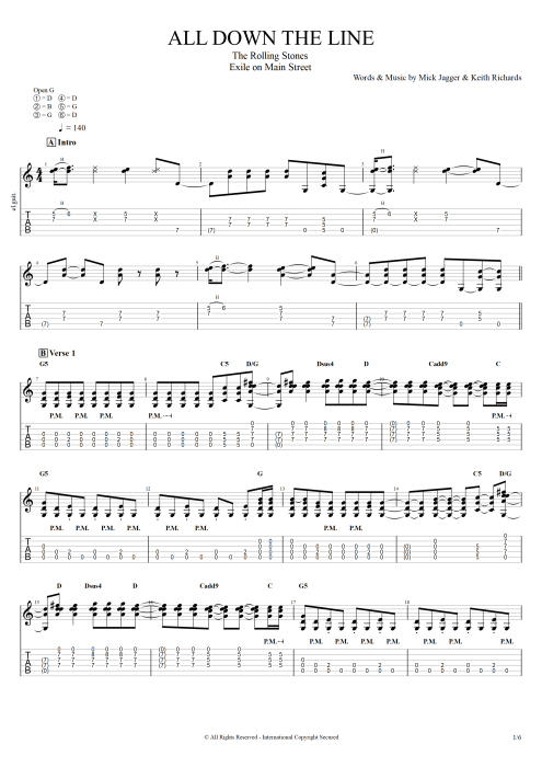 All Down the Line - The Rolling Stones tablature