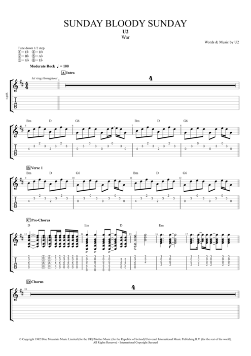 Sunday Bloody Sunday - U2 tablature