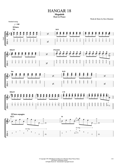 Hangar 18 - Megadeth tablature