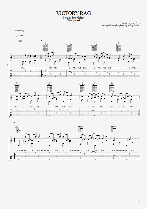 Victory Rag - Traditional tablature