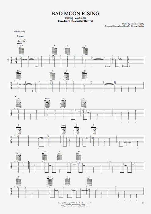 Bad Moon Rising - Creedence Clearwater Revival tablature