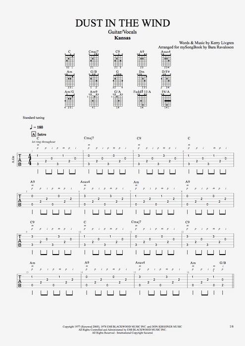 Dust in the Wind - Kansas tablature