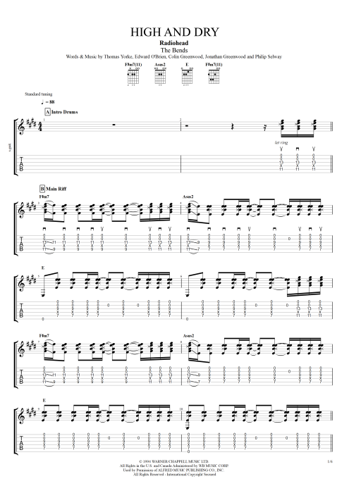 High and Dry - Radiohead tablature