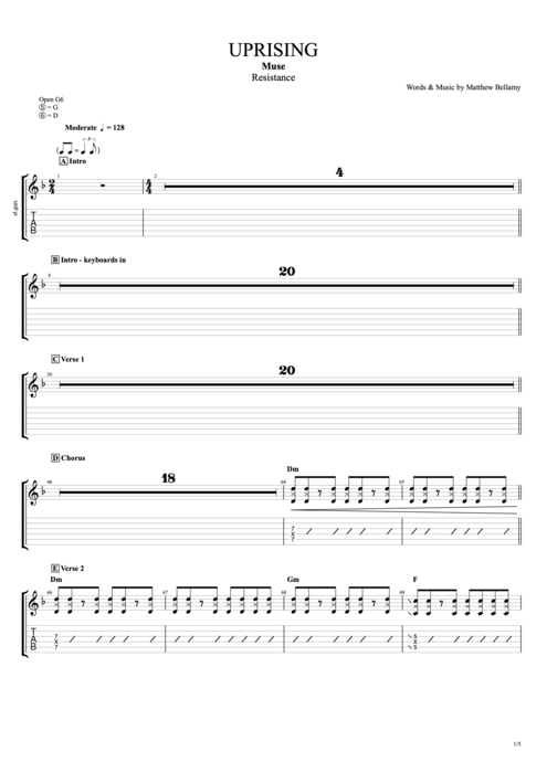 Uprising - Muse tablature