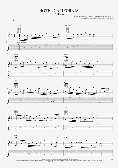 Guitar guitar tablature hotel california : Hotel California by The Eagles - Intermediate Solo Guitar Guitar ...