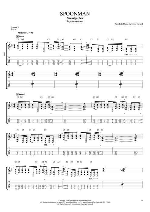Spoonman - Soundgarden tablature