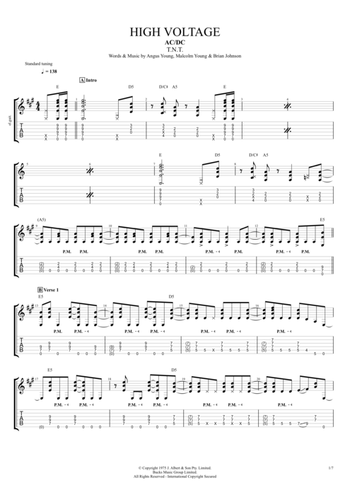 Guitar ac dc guitar tabs : High Voltage by AC/DC - Full Score Guitar Pro Tab | mySongBook.com