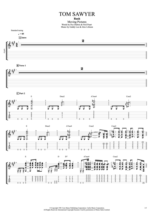 Tom Sawyer By Rush Full Score Guitar Pro Tab