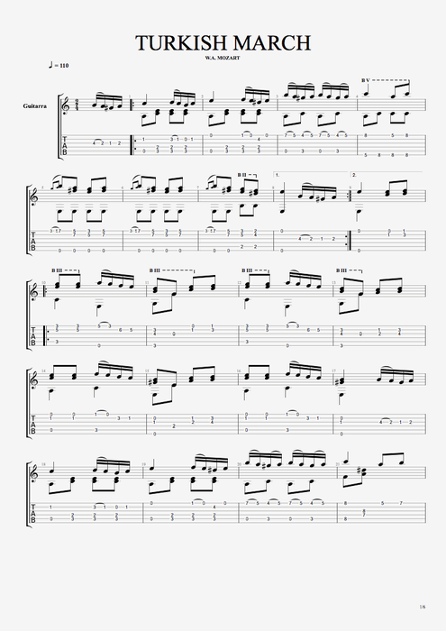 Turkish March - Wolfgang Amadeus Mozart tablature