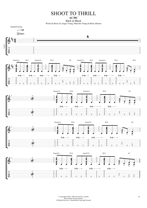 Guitar ac dc guitar tabs : Shoot to Thrill by AC/DC - Full Score Guitar Pro Tab | mySongBook.com