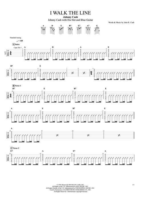 I Walk the Line - Johnny Cash tablature