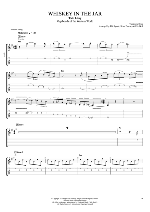 Whiskey in the Jar - Thin Lizzy tablature
