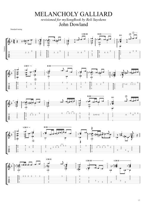 Melancholy Galliard - John Dowland tablature