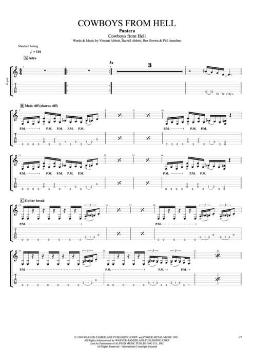 Cowboys from Hell - Pantera tablature