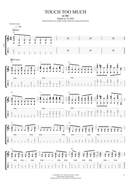 Touch Too Much - AC/DC tablature