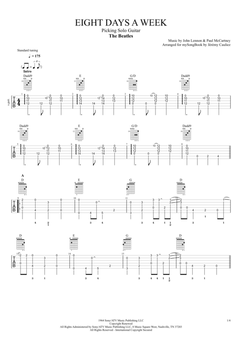 Eight Days a Week - The Beatles tablature