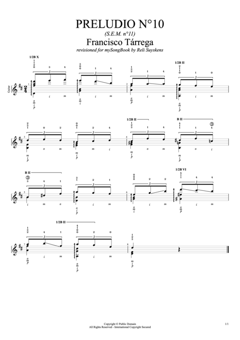 Preludio n°10 (S.E.M. n°11) - Francisco Tarrega tablature