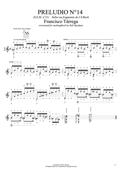 Preludio n°14 (S.E.M. n°21) - Francisco Tarrega tablature