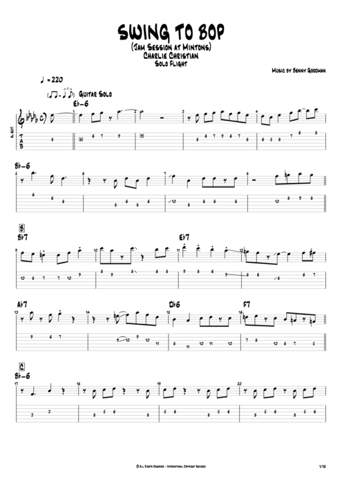 Swing to Bop - Charlie Christian tablature