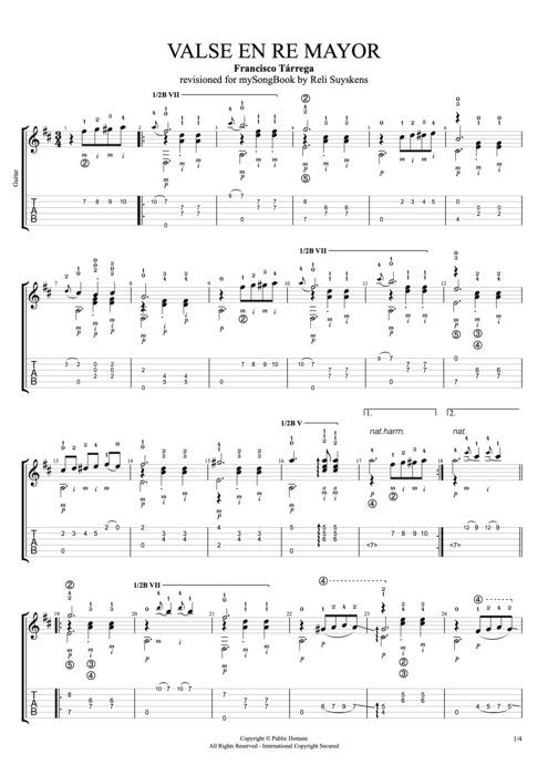 Vals en re mayor - Francisco Tarrega tablature