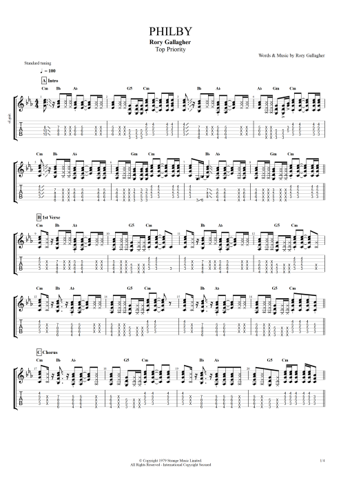 Philby - Rory Gallagher tablature