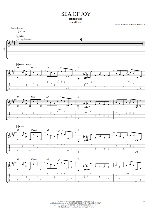 Sea of Joy - Blind Faith tablature