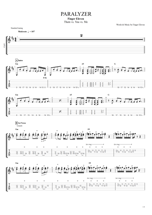 Paralyzer - Finger Eleven tablature