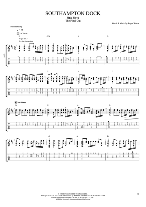 Southampton Dock - Pink Floyd tablature