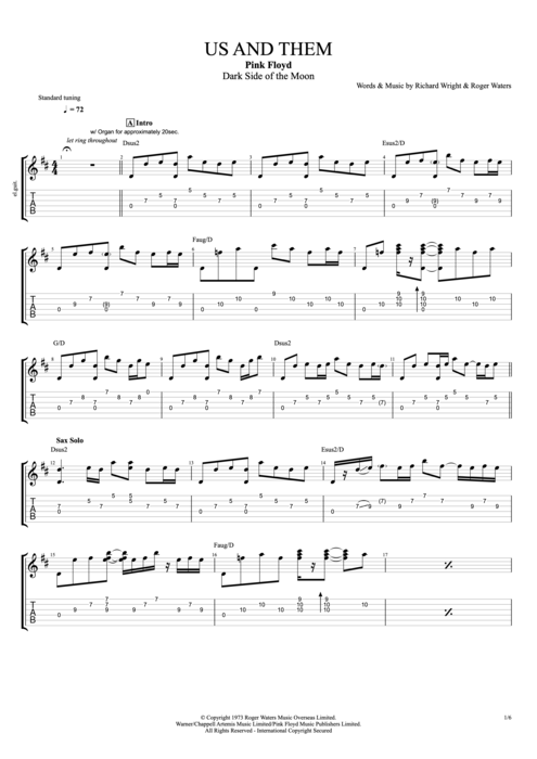 Us and Them - Pink Floyd tablature