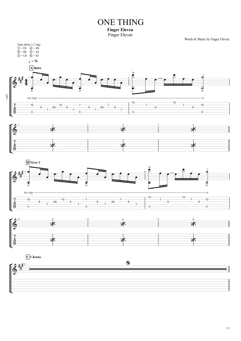 One Thing - Finger Eleven tablature