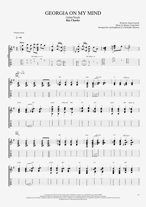 Georgia on My Mind - Ray Charles tablature