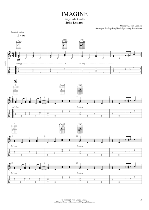 Imagine - John Lennon tablature