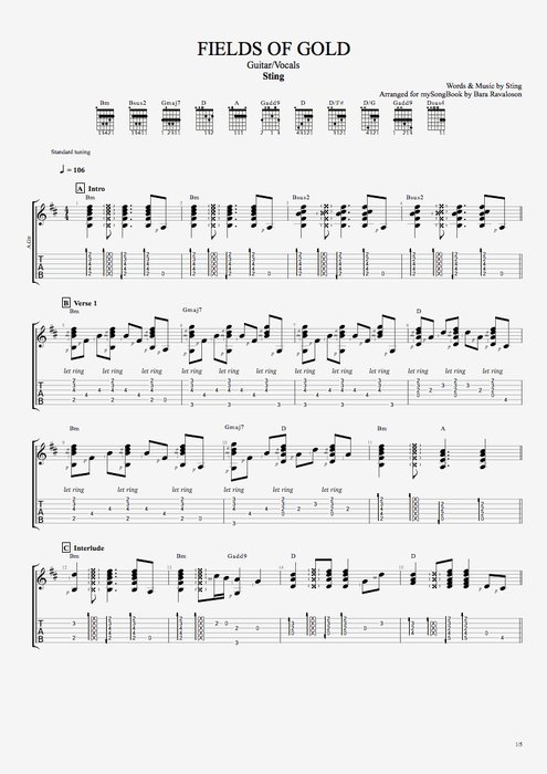 Fields of Gold - Sting tablature