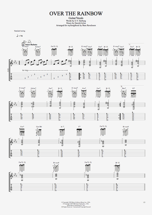 Over the Rainbow (from 'The Wizard Of Oz') - Harold Arlen tablature