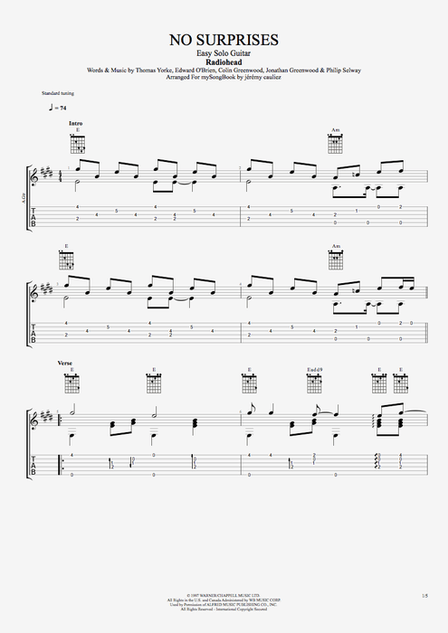 No Surprises - Radiohead tablature