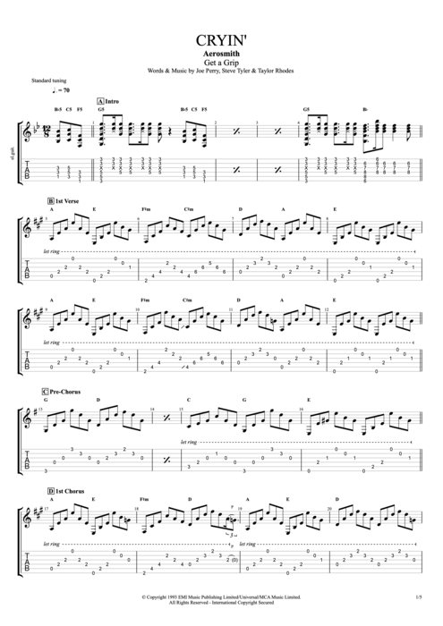 Cryin' - Aerosmith tablature