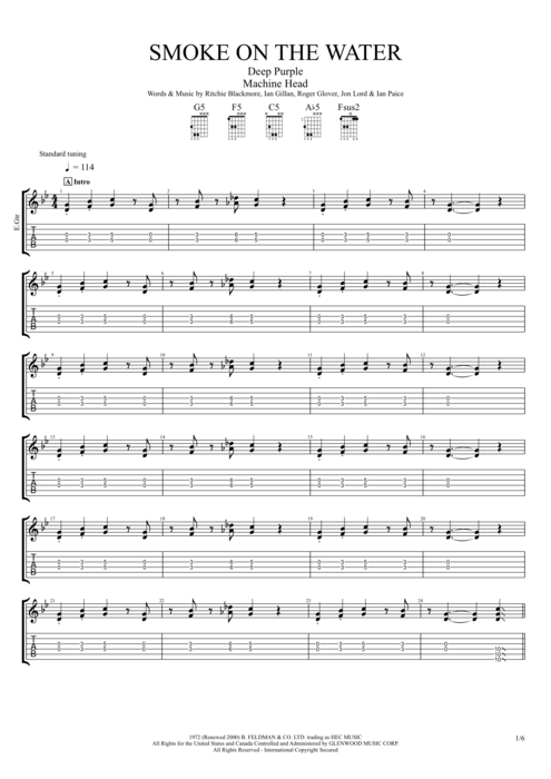 Guitar guitar tabs smoke on the water : Smoke on the Water (Studio) by Deep Purple - Full Score Guitar Pro ...