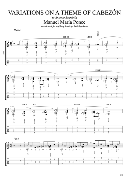 Variations on a Theme of Cabezón - Manuel Ponce tablature