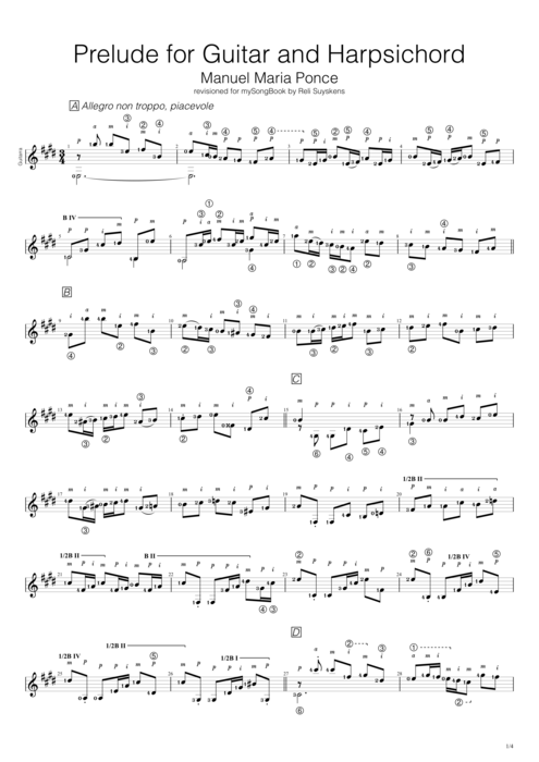 Prelude for Guitar and Harpsichord - Manuel Ponce tablature