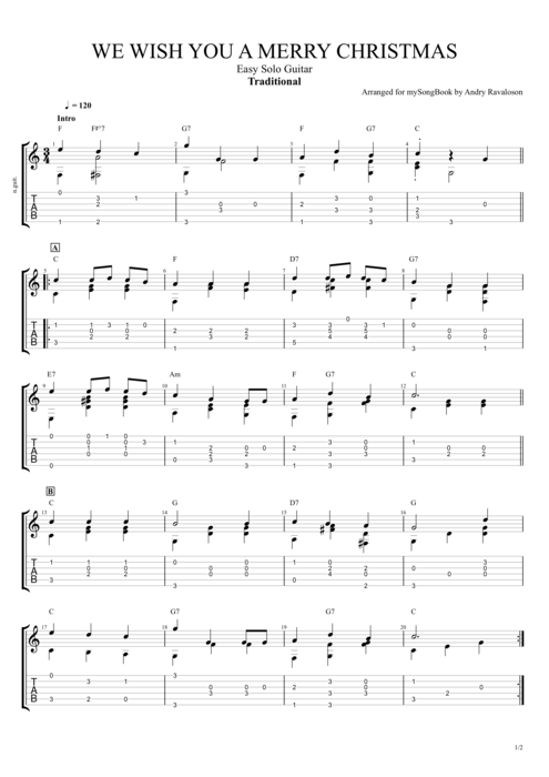 We Wish You a Merry Christmas - Traditional tablature