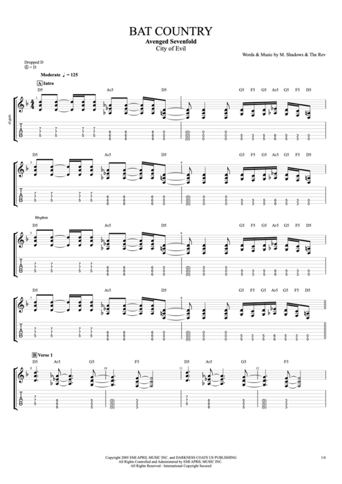 Bat Country - Avenged Sevenfold tablature