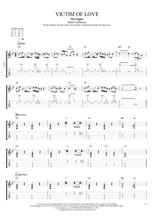 Victim of Love by The Eagles - Full Score Guitar Pro Tab   mySongBook.com