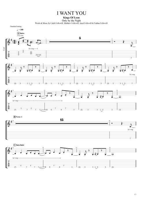 I Want You - Kings of Leon tablature