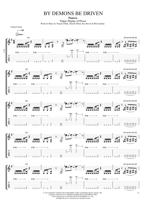 By Demons Be Driven - Pantera tablature