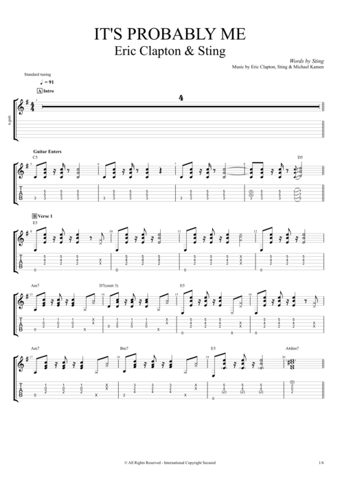 It's Probably Me - Eric Clapton tablature