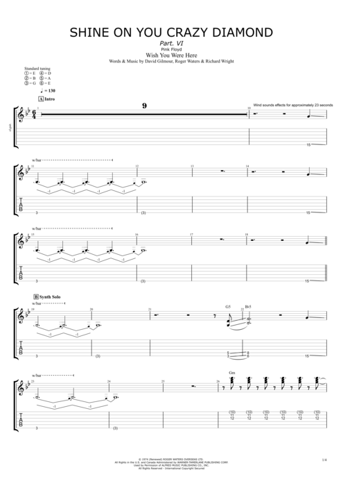 Shine On You Crazy Diamond (P.VI) - Pink Floyd tablature