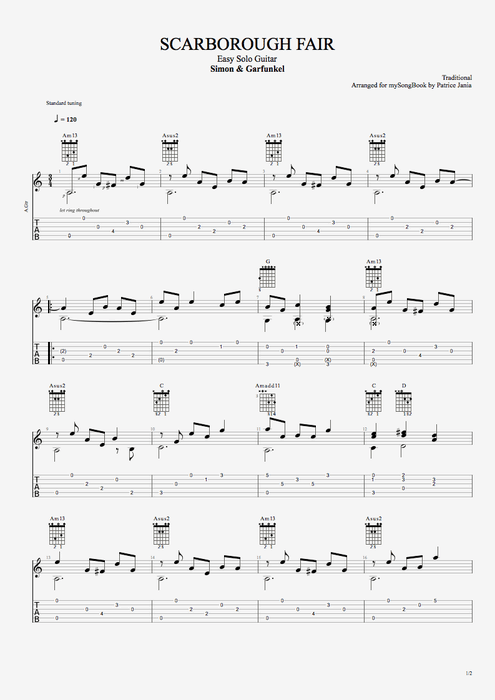 Scarborough Fair - Simon & Garfunkel tablature