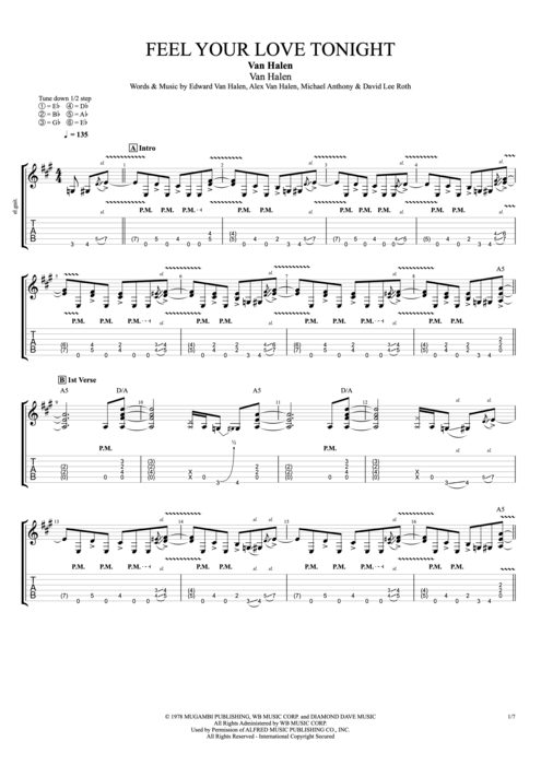 Feel Your Love Tonight - Van Halen tablature