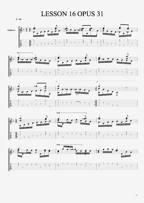 Lesson 16 Opus 31 - Fernando Sor tablature