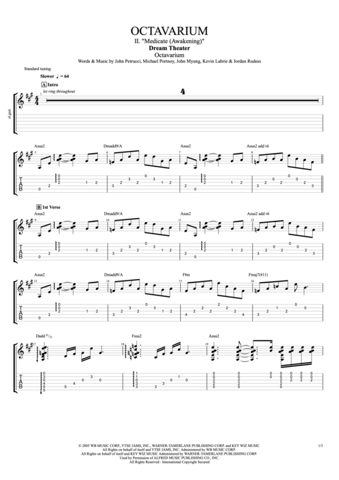 "Octavarium II. ""Medicate (Awakening)"" - Dream Theater tablature"